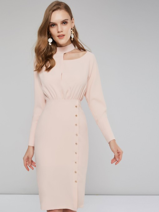 Stand Collar Women's Bead Long Sleeve Dress