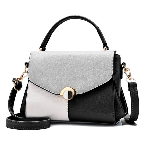 Modern Color Block Magnetic Snap Soft Handbag