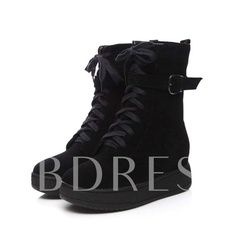 Buy Round Toe Side Zipper Cross Strap Platform Buckle Mid Calf Boots, Spring,Fall,Winter, 13448711 for $48.11 in TBDress store