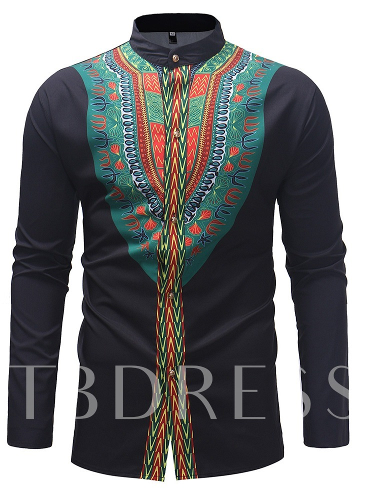 Casual Ethnic Loose Stand Collar Men's Shirt