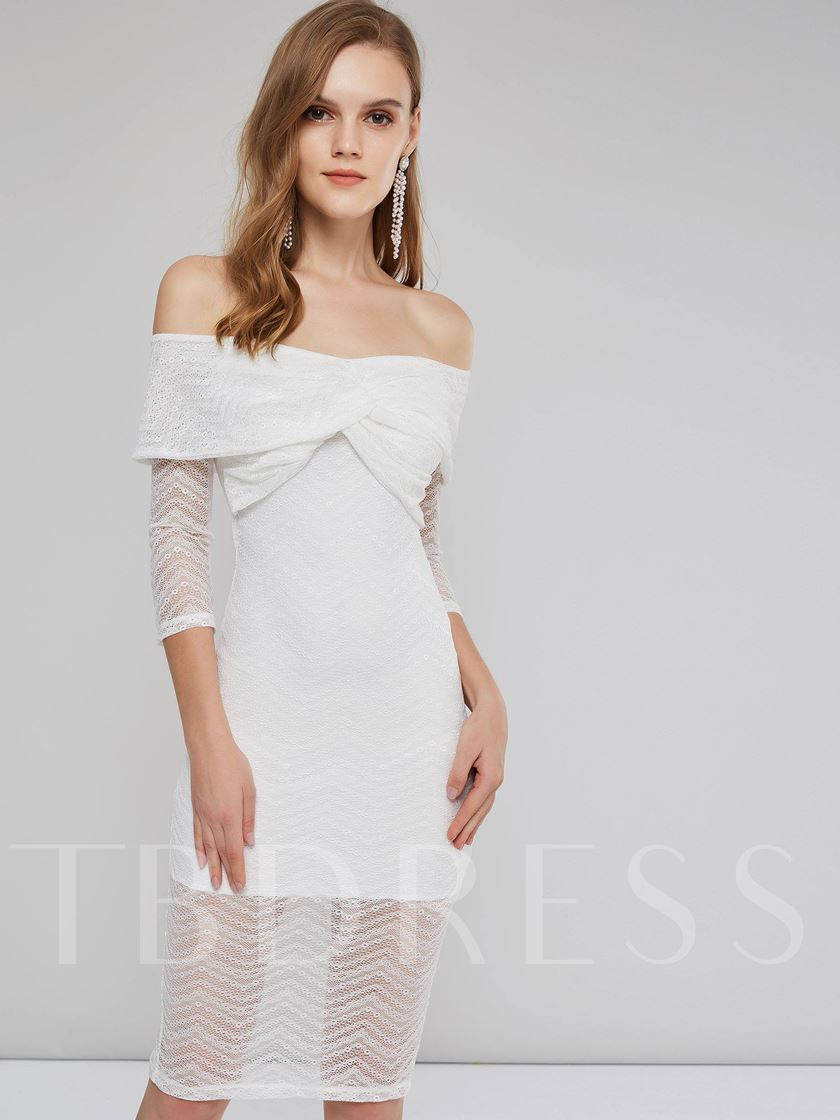 White Off Shoulder Lace Women's Day Dress