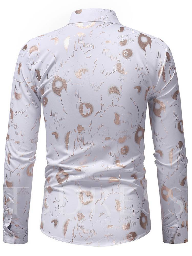 Slim Stand Collar Geometric Printed Men's Shirt