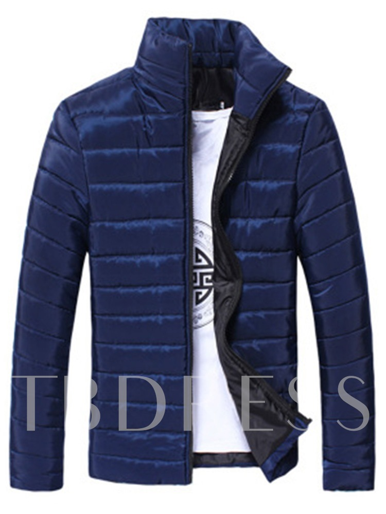 Slim Stand Collar Thick PlainMen's Down Jacket