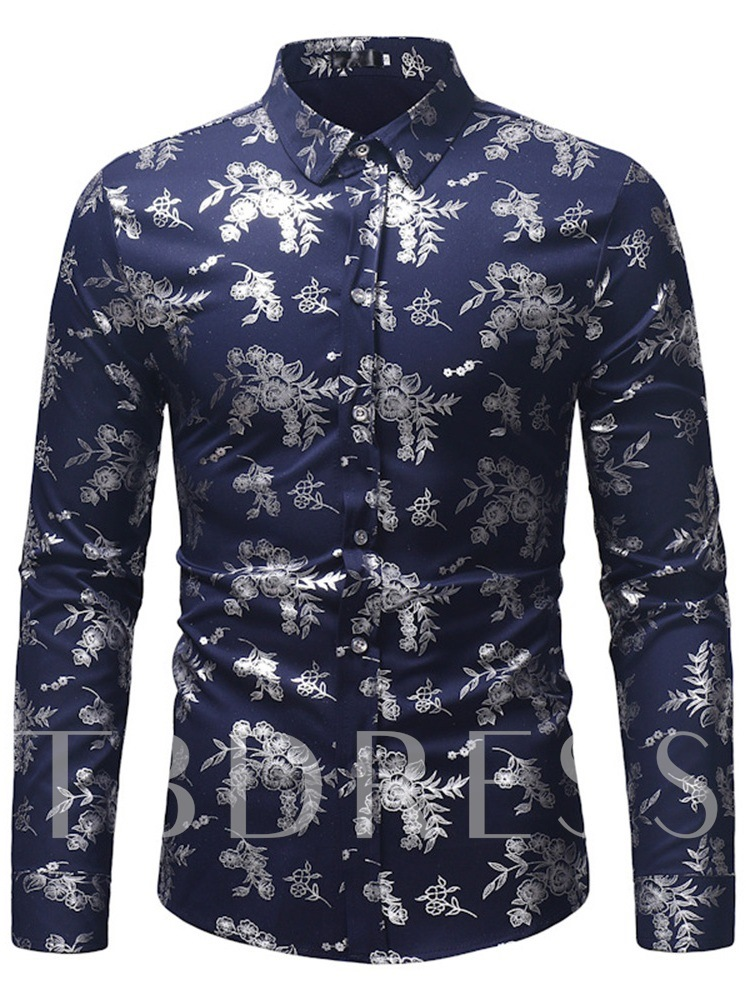 Slim Casual Lapel Floral Printed Men's Shirt