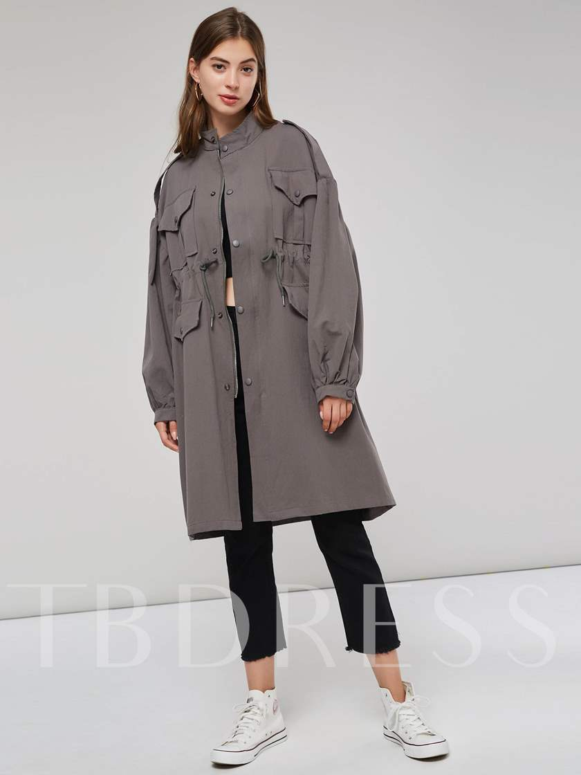 Stand Collar Single-Breasted Women's Long Trench Coat
