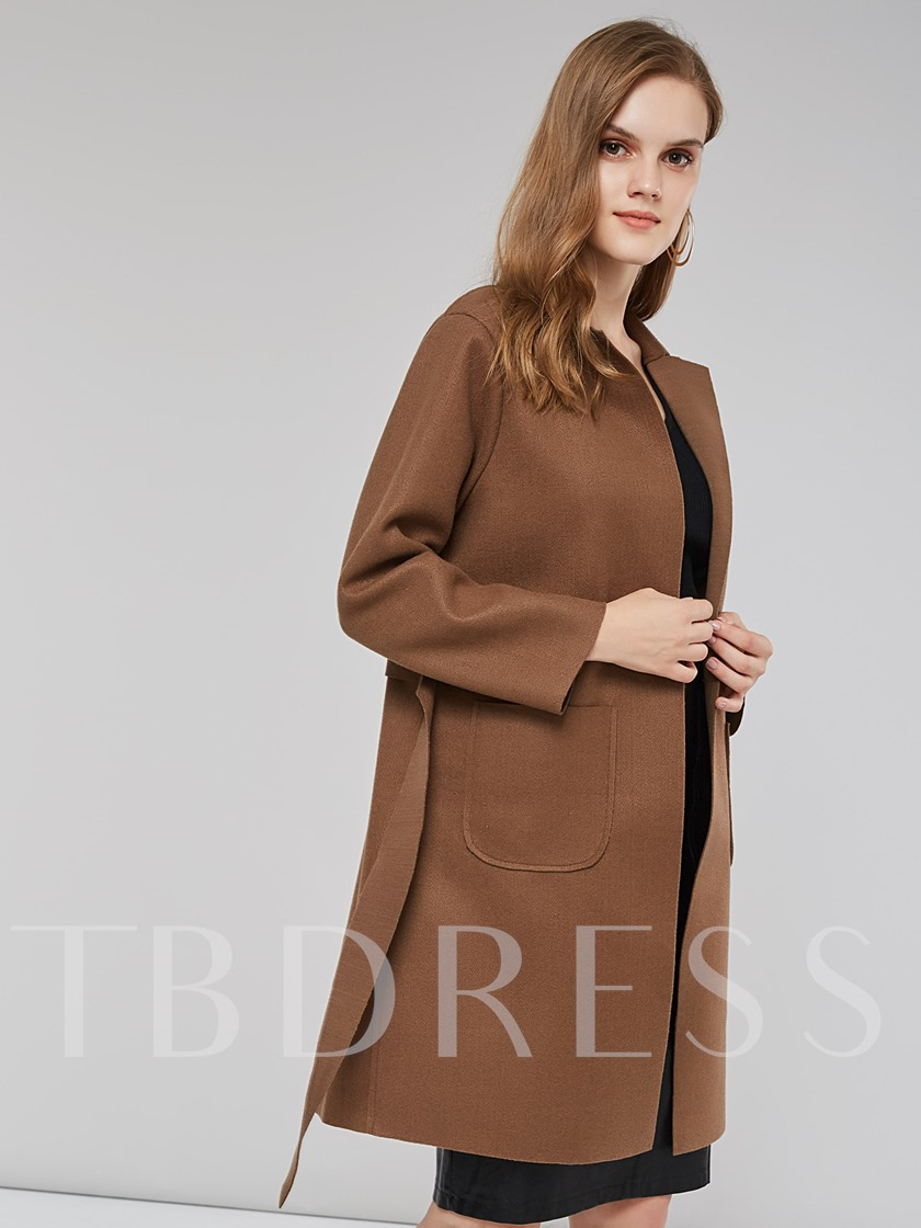 Black Tie Waist Notch Neck Women's Trench Coat