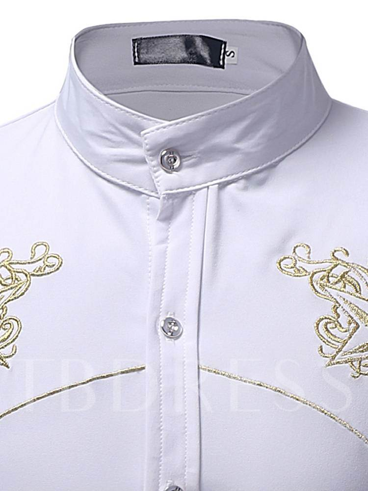 Casual Slim Stand Collar Embroidery Men's Shirt