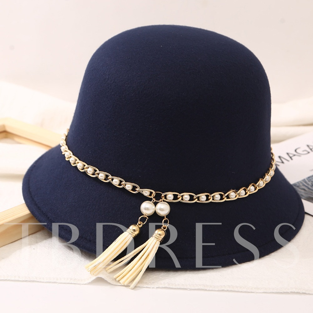 Pearl Tassel Wool Blends Fedora Hat