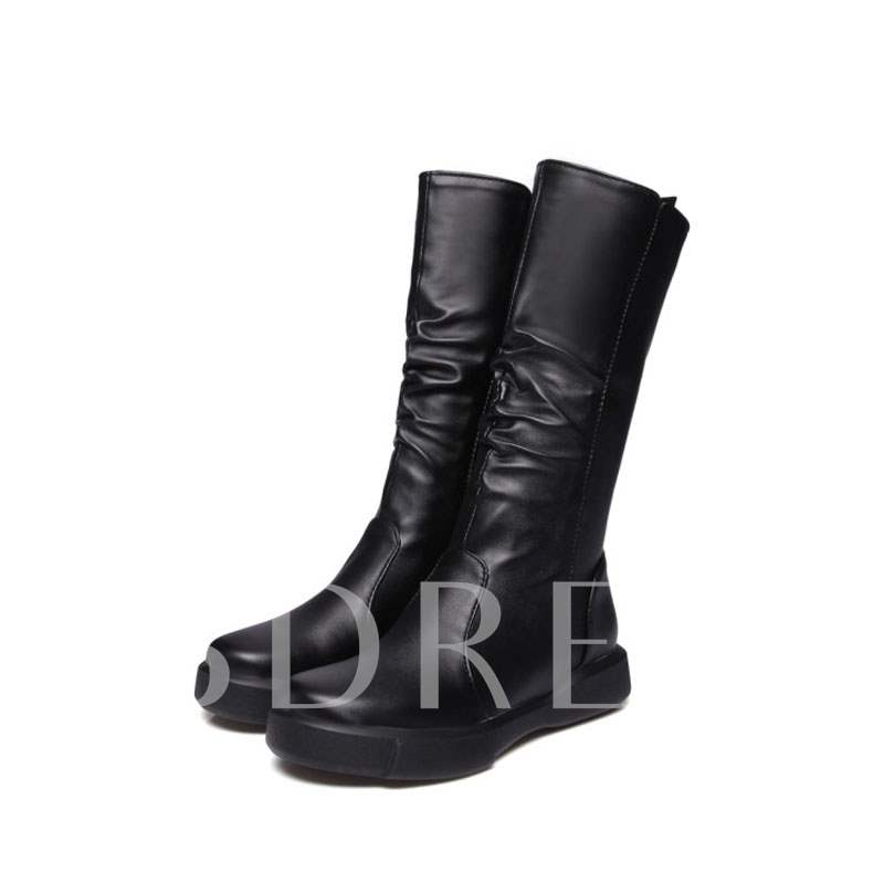 Buy Round Toe Side Zipper Platform Plain Women's Mid Calf Boots, Fall,Winter, 13448779 for $49.35 in TBDress store