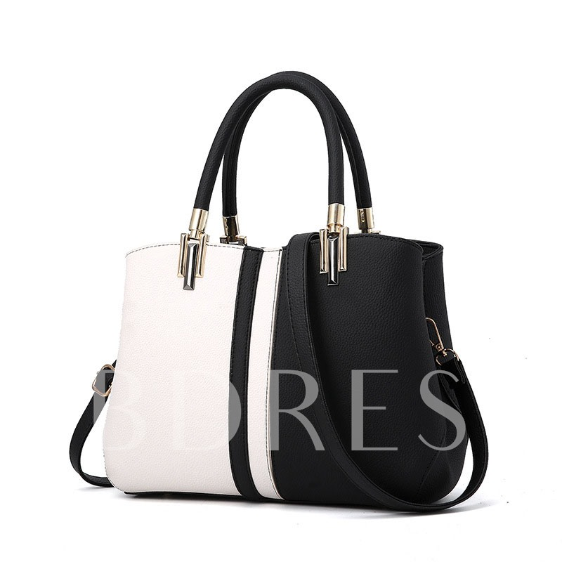 Casual Barrel Shaped Color Block Soft Women Tote Bag