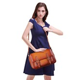 Huge Sapce PU Belt Decorated Medium Shoulder Bag