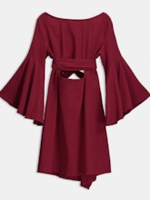Red Bell Sleeve Women's Day Dress