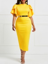 African Fashion Falbala Pure Color Knee-Length Bodycon Dress without Belt