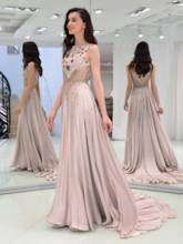 A-Line Beading Jewel Evening Dress