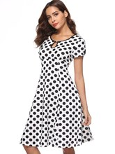 Vintage Polka Dots Prints Women's Day Dress