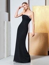 Beading Strapless Sheath Black Evening Dress
