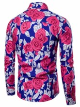 Lapel Rose Print Leisure Men's Shirt