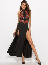 Stand Collar Embroidery High-Split Sexy Dress