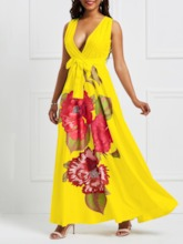 Floor-Length Print Sleeveless V-Neck Women's Maxi Dress