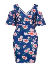 Plus Size Short Sleeve Floral Prints Women's Bodycon Dress
