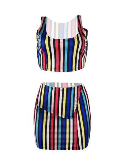 Color Block Short Top with Skirt Women's Two Piece Dress