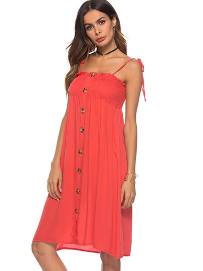 Single-Breasted Strappy Women's Sexy Dress