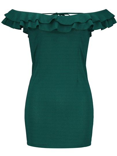 Green Slash Neck Falbala Women's Bodycon Dress