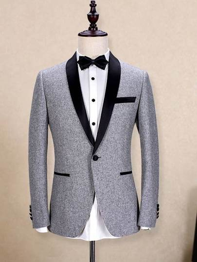 Contrast Trim One Button Slim Men's Dress Suit