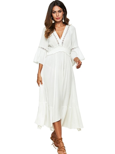 White Open Back Women's Maxi Dress
