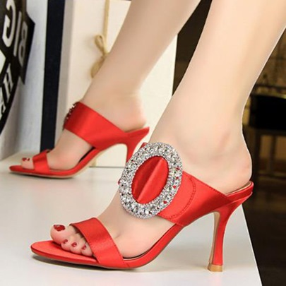 Silk Fabric Rhinestone Slip-On Plain Sandals for Women