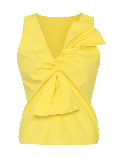 Ruched Twist Front Sleeveless Women's Blouse