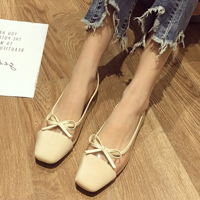 Square Toe Bowknot See Through Casual Slip-On Women's Flats