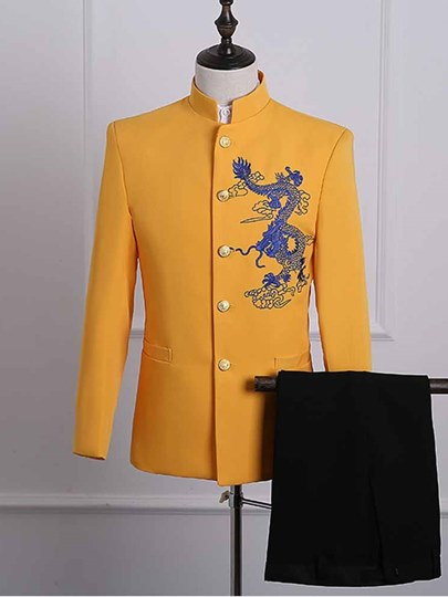 Chinese Style Embroidery Slim Fit Men's Dress Suit