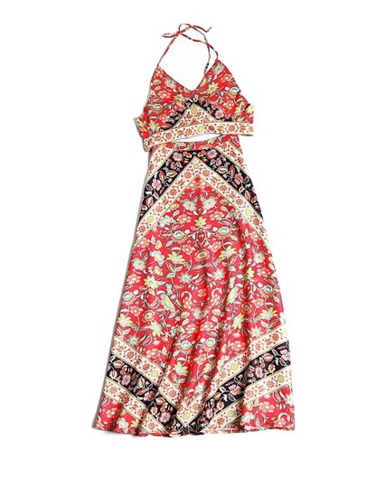 Floral Print Halterneck Top and Skirt Women's Two Piece Dress