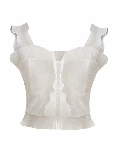 Falbala Straps Solid Color Women's Cropped Top