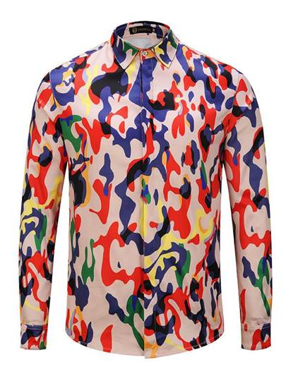Camouflage Long Sleeve Leisure Men's Shirt