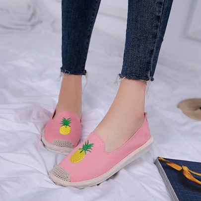 Fruits Embroidery Summer Casual Slip-On Flat Shoes for Women