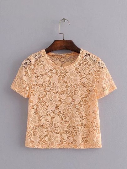 Sheer Lace Ppatchwork Round Neck Women's Blouse