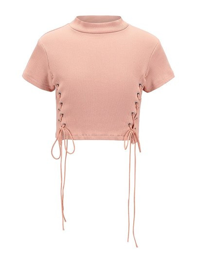 Lace-Up Stand Collar Women's Cropped Sweater