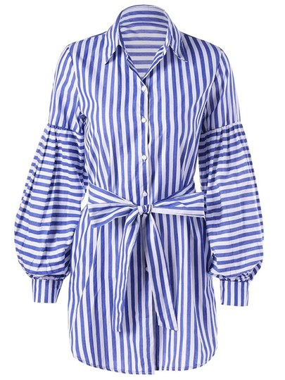 Long Sleeve Button Stripe Shirt Day Dress