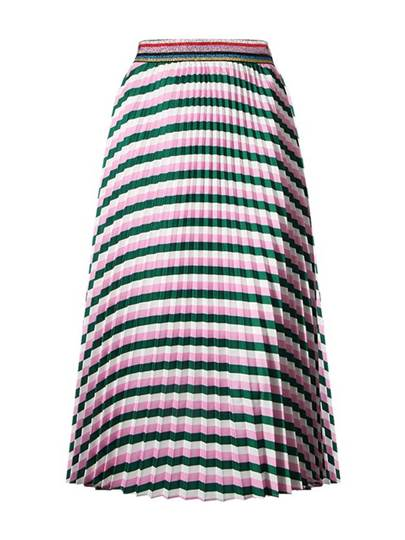 Color Block Striped Pleated Women's Maxi Skirt