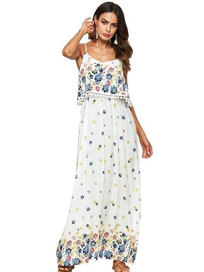White Double-Layered Printing Women's Maxi Dress