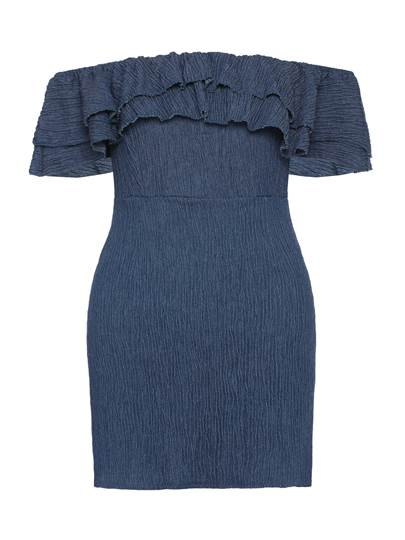 Denim Off Shoulder Falbala Women's Bodycon Dress