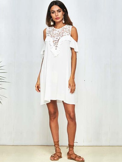 White Lace Patchwork Cold Shoulder Women's Day Dress