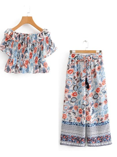 Floral Print Pleated Top with Pants Women's Two Piece Set