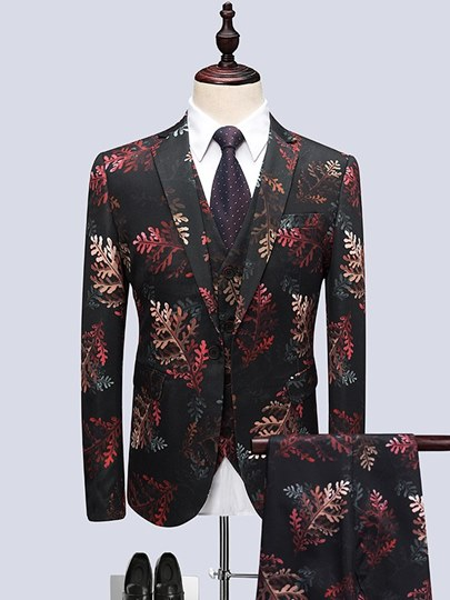 Three Piece Floral Print Slim Luxury Men's Dress Suit