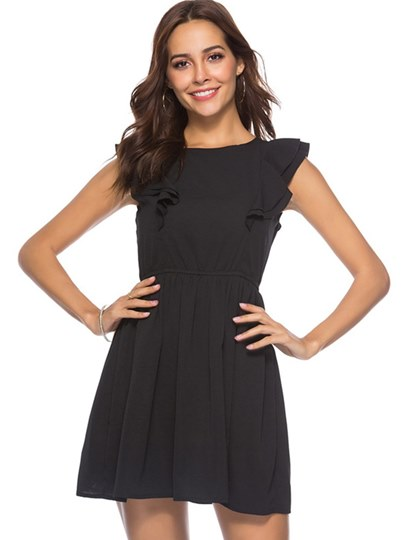Plain Falbala Women's Summer Dress