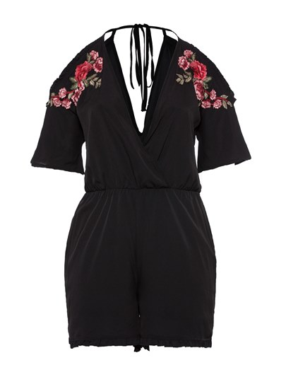 Floral Embroidery Backelss Lace-Up Women's Romper