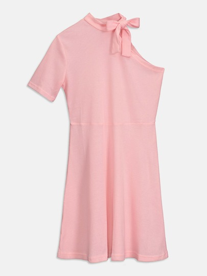 Pink Knitted One Shoulder Women's Day Dress
