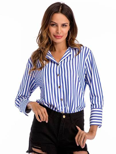 Single-Breasted Stripe Printed Women's Shirt